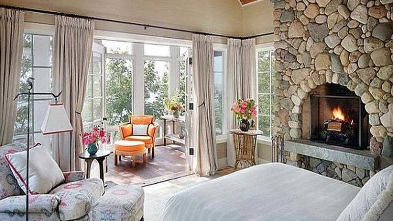 Bloombety Cottage Style Bedrooms Ideas Fireplace