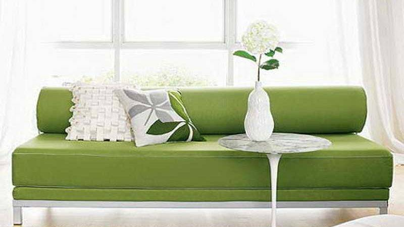 Bloombety Small Sleeper Couch Green Colour