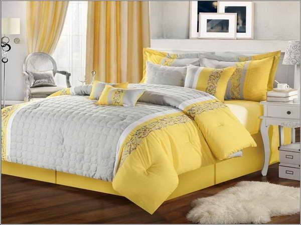 Bloombety White Bedspreads Comforters Yellow