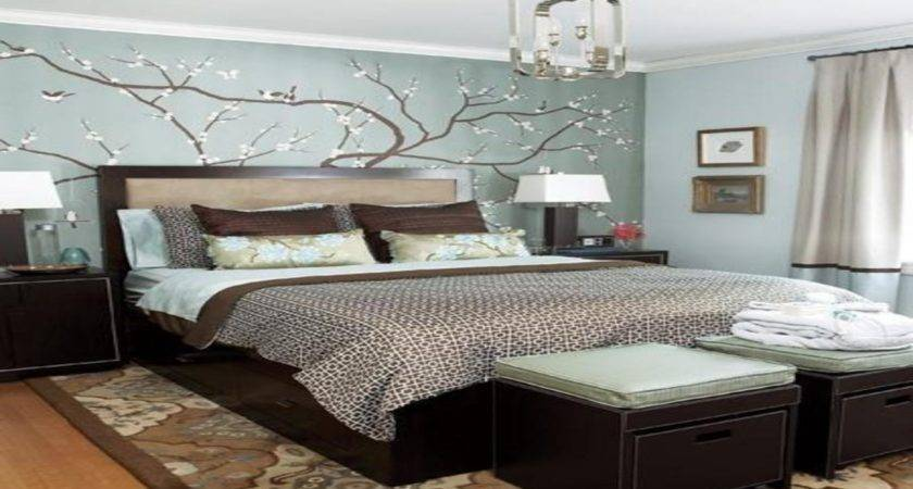 Blue Beige Bedroom Brown Decorating