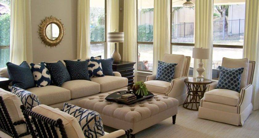 Blue Brown Beige Living Room Home Design