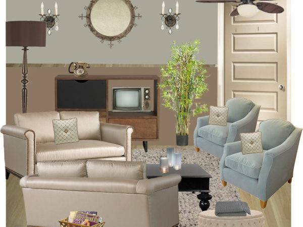 Blue Brown Beige Living Room Polyvore