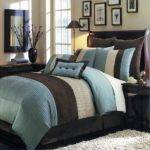 Blue Brown Color Block Comforter Pillows Set