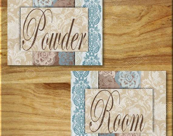 Blue Brown Damask Powder Room Print Wall Art Decor