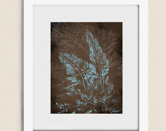 Blue Brown Decor Wall Fern Art Home