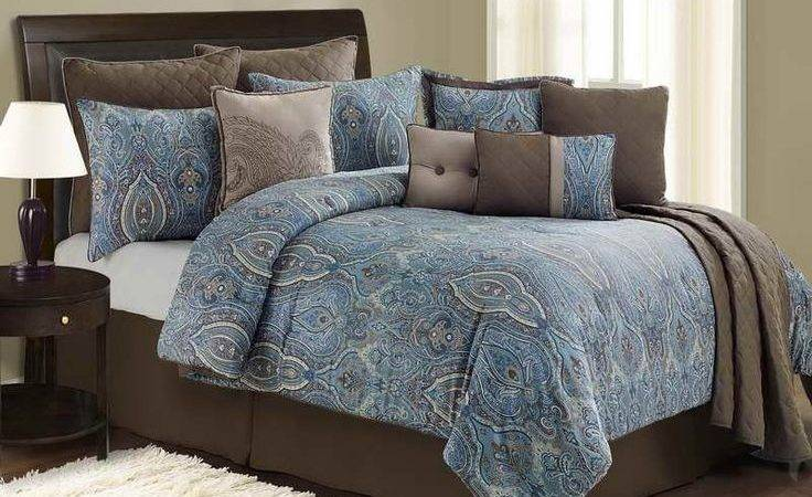 Blue Brown Paisley Bedding