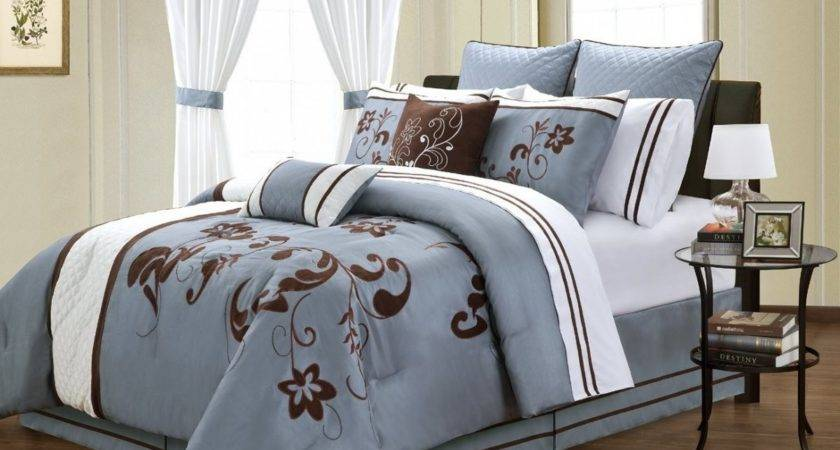 Blue Brown Queen Comforter Sets Minimalist Bedroom