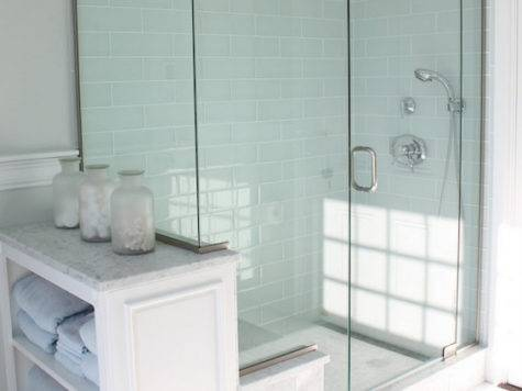 Blue Glass Tile Shower Cottage Bathroom Molly Frey