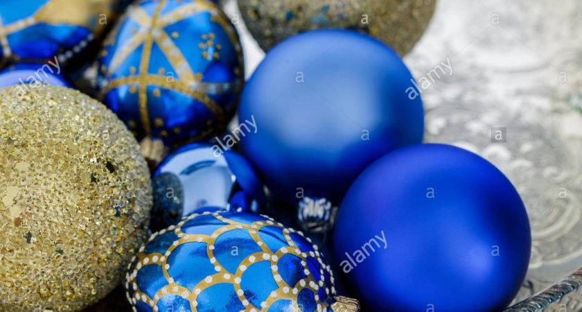 Blue Gold Christmas Decorations Silver Tray