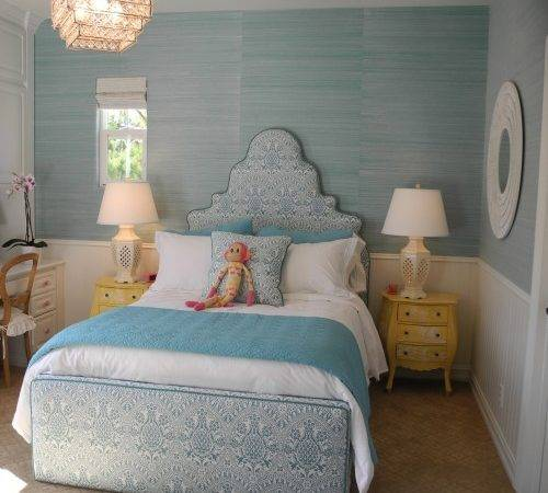 Blue Grasscloth Transitional Girl Room