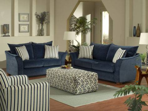 Blue Living Room Sets Grasscloth