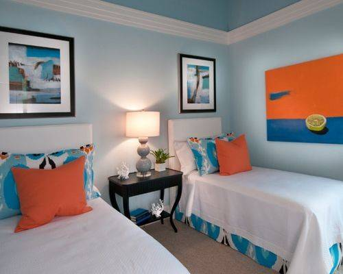 Blue Orange Bedroom Houzz