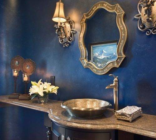 Blue Powder Room Houzz
