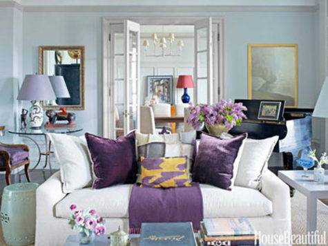 Blue Purple White Living Room Decorating Envy