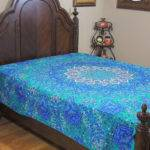 Blue Teal Floral Indian Bedding Beautiful Cotton Fabric