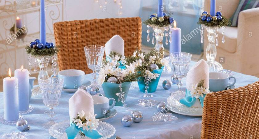 Blue White Christmas Table Decorations Tazetta