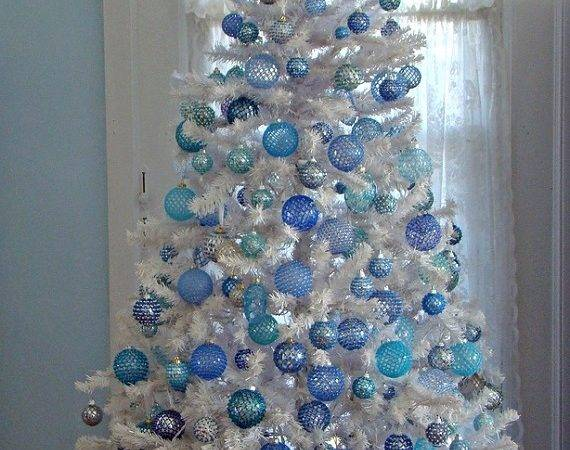 Blue White Decorated Christmas Tree