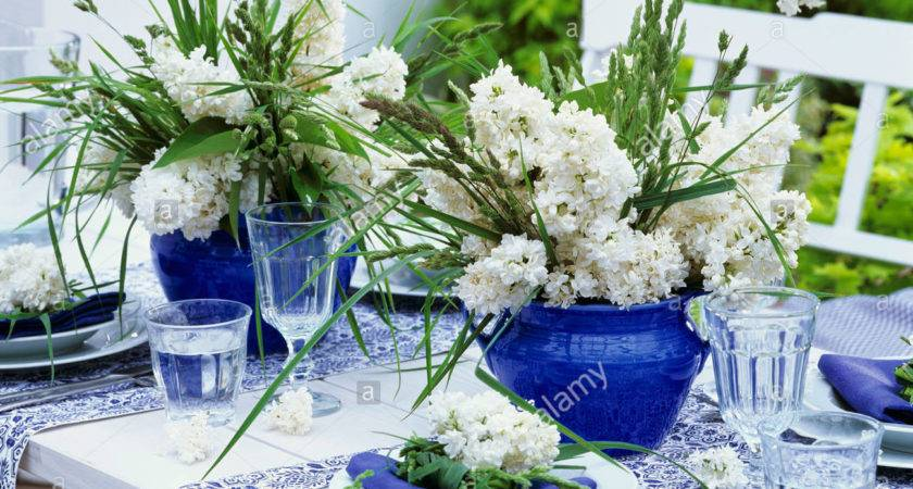 Blue White Table Decorations Lilac Grasses