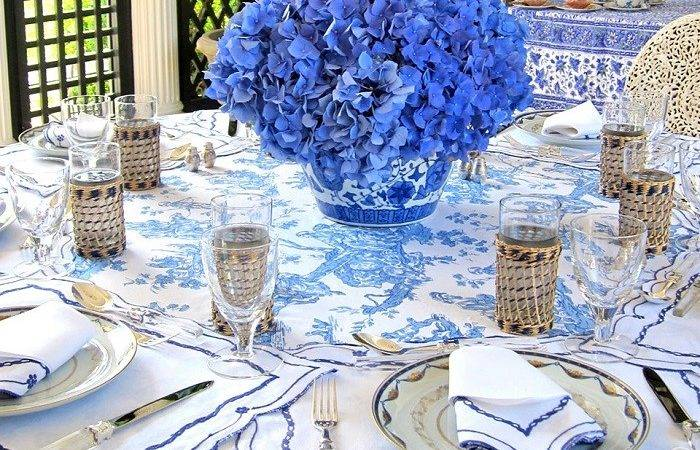 Blue White Tory Burch Tableware Chambray Bunny