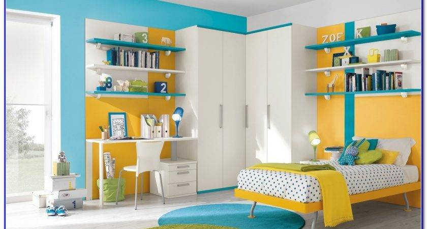 Blue Yellow Color Scheme Bedroom Painting Home