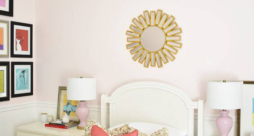 Blush Pink Coral Bedroom Brass Accents