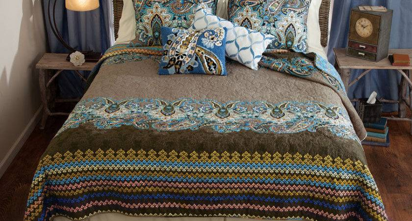 Boho Blue Brown Paisley Queen Quilt Set Nadia