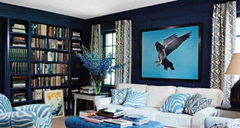 Bold Table Blue Walls Awesome Living Room Idea