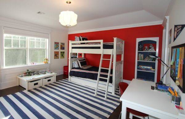 Boys Bedroom White Red Blue Bunk Beds