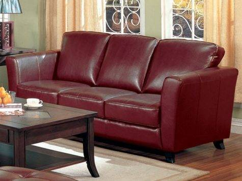 Brady Red Brown Leather Sofa Coaster