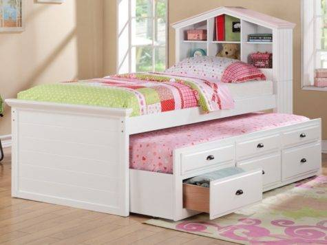 Bright Little Girls Room Interior White Twin Bedroom