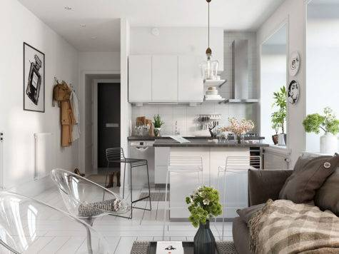 Bright Scandinavian Decor Small One Bedroom Apartments