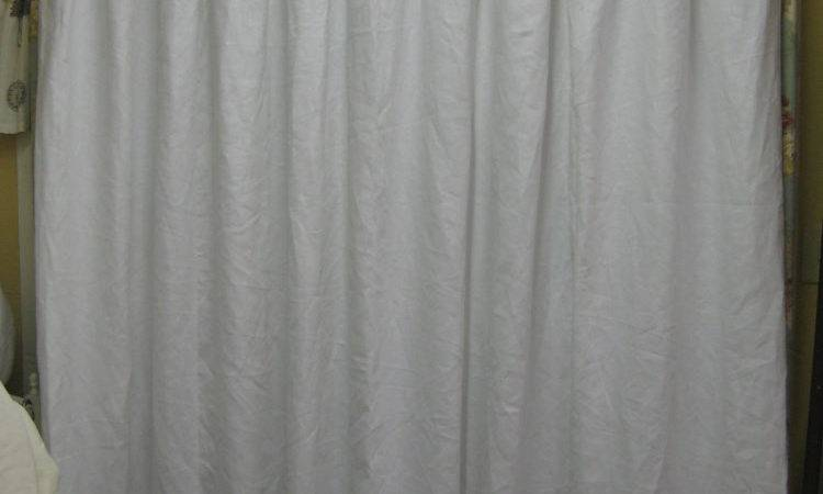 Bright White Linen Shower Curtain Pleated Lined