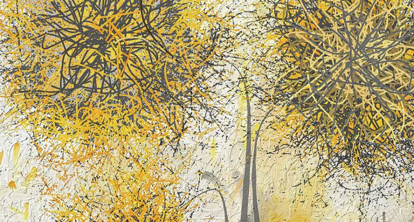 Brighter Blooms Yellow Gray Modern Artwork Painting