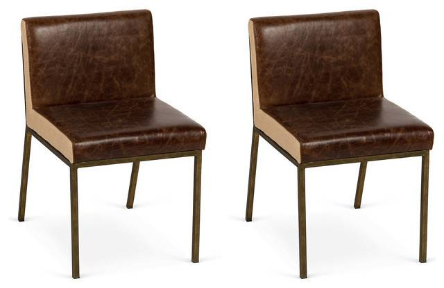 Bronze Leather Ucc Dining Chairs Pair Eclectic