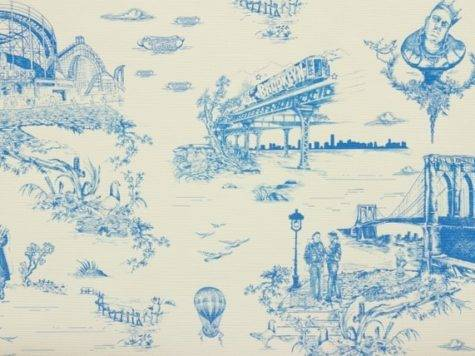 Brooklyn Toile Porcelain Blue Eclectic
