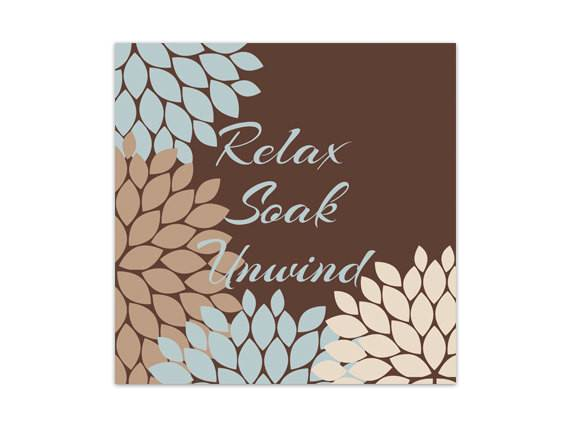 Brown Blue Bathroom Decor Wall Art Relax Soak
