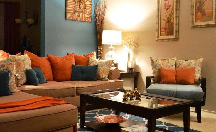 Brown Blue Living Room Decor Home Decorations
