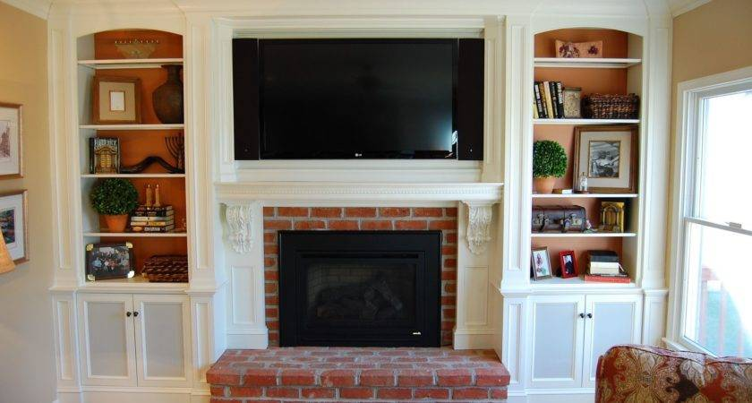 Brown Brick Fireplace Plus White Mantel Large Above