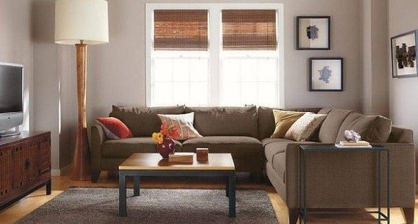 Brown Couch Grey Carpet Chic Living Room