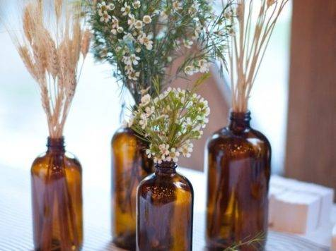Brown Glass Amber Bottle Centerpieces Ideas Rustic