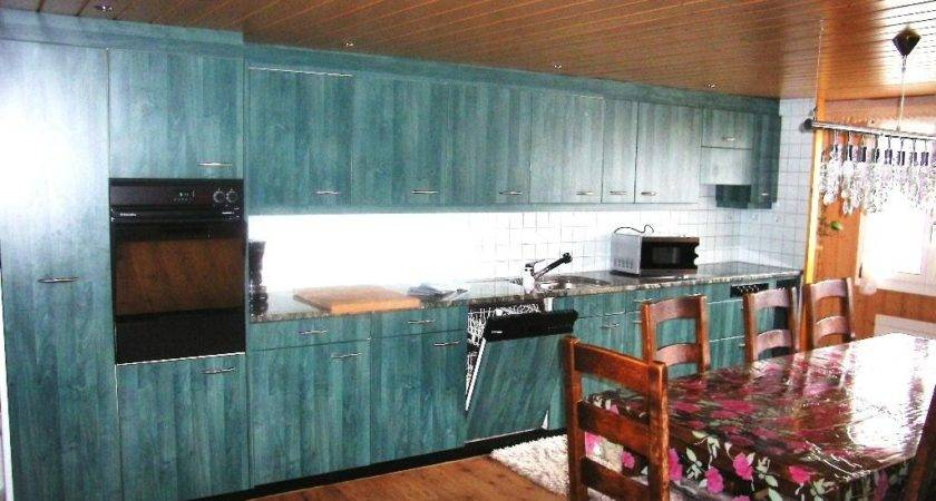Brown Kitchen Turquoise Paint