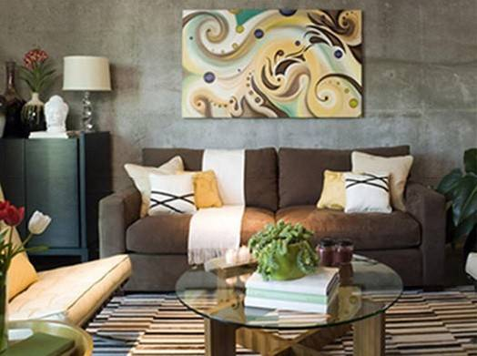 Brown Living Room Decorating Ideas Stone Textured Wall