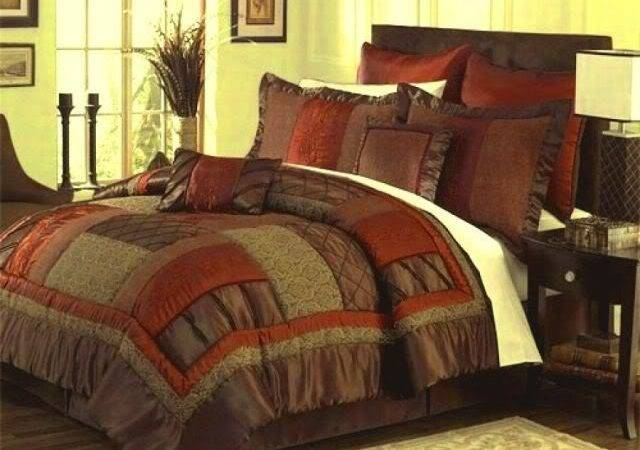 Brown Orange Bedding Bedroom Ideas