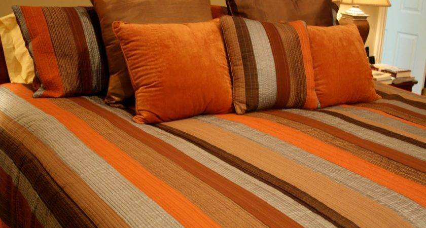 Brown Orange Bedding Dark