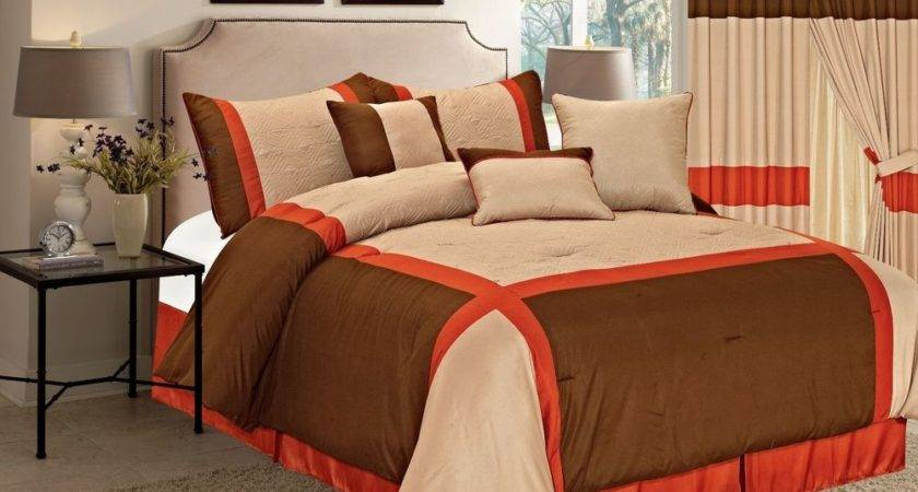 Brown Orange Taupe Pieces Luxury Quilted Linen