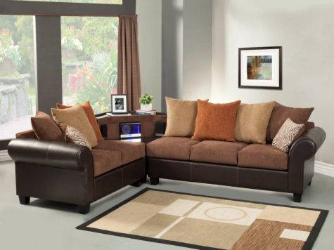 Brown Sectional Sofa Set Aux Stereo