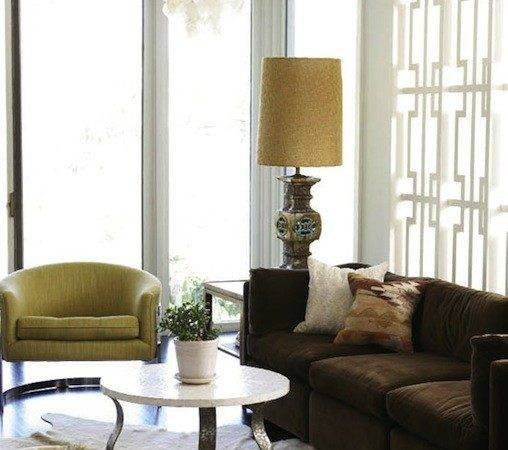 Brown Yellow Living Room Hollywood Regency
