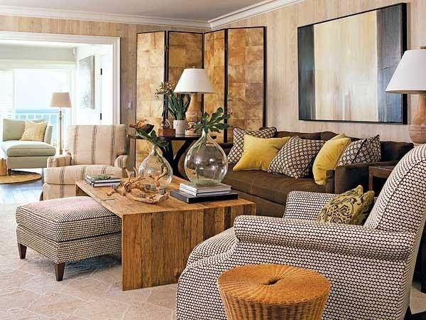 Brown Yellow Living Room Transitional
