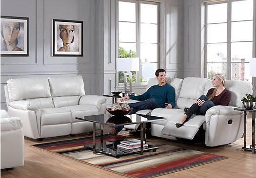 Browning Bluff Light Gray Leather Living Room