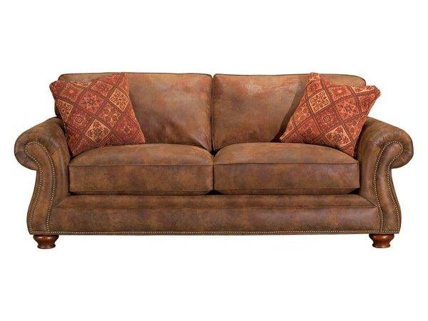 Broyhill Lauren Brown Faux Leather Sofa Pillows